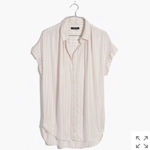 Madewell Central Shirt- Pink/White Stripe